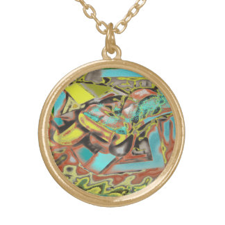 Abstractly Speaking Abstract Design Round Pendant Necklace