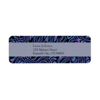 Abstracto enloquecida en azul, negro, y púrpura etiquetas de remite