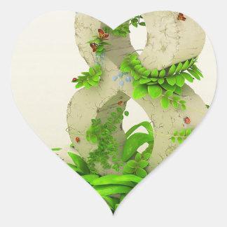 Abstracto refresque ocho meses encendido pegatina en forma de corazón