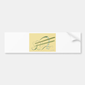 Abstractus Yellow Olive Green Abstract Modern Art Car Bumper Sticker