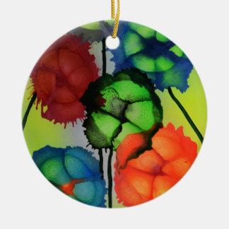 Abstrakte segmentert blomster i blomst ceramic ornament