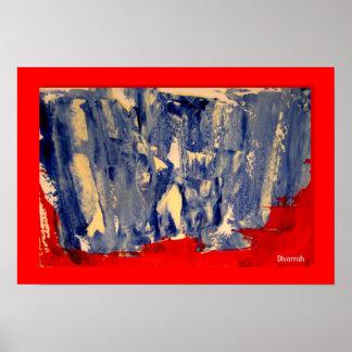 Abstrato Azul e Vermelho Poster
