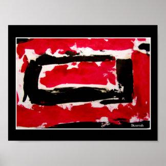 Abstrato Preto, Vermelho e Branco Poster