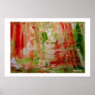 Abstrato Rosa, Branco e Verde Poster