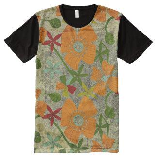 Abtract Grunge Floral Mosaic Print T-Shirt