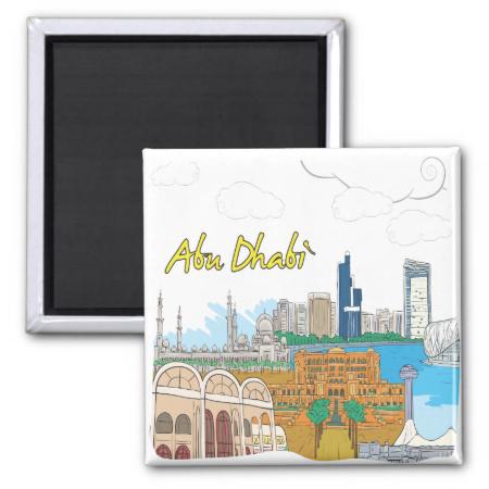 Abu Dhabi 2 Inch Square Magnet