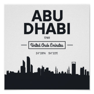 Abu Dhabi | Black and White City Coordinates Poster