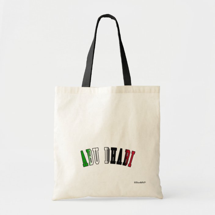 Abu Dhabi in United Arab Emirates National Flag Colors Canvas Bag