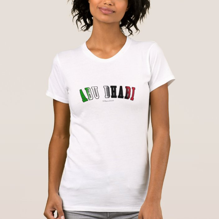 Abu Dhabi in United Arab Emirates National Flag Colors Tee Shirt