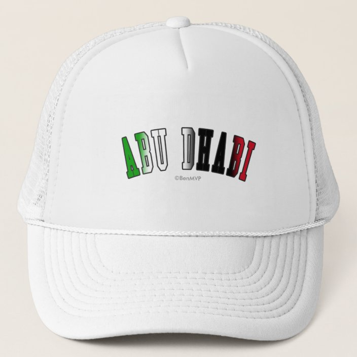 Abu Dhabi in United Arab Emirates National Flag Colors Trucker Hat
