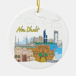 Abu Dhabi Double-Sided Ceramic Round Christmas Ornament