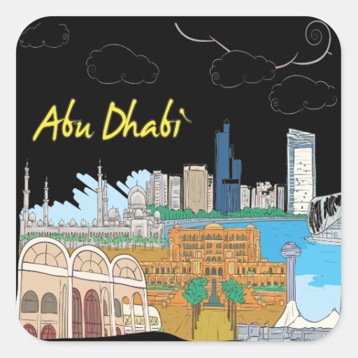 Abu Dhabi Pegatina Cuadrada
