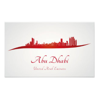 Abu Dhabi skyline in network and gray background Art Photo