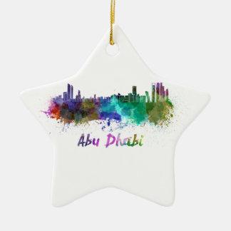 Abu Dhabi skyline in watercolor Adorno De Cerámica En Forma De Estrella