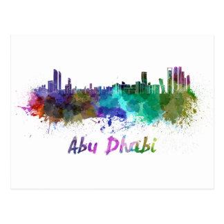 Abu Dhabi skyline in watercolor Postcard