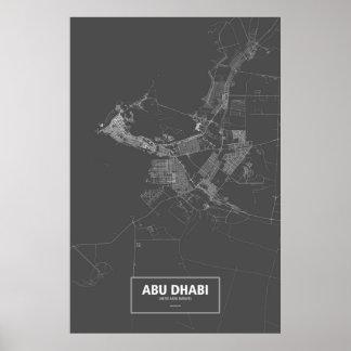 Abu Dhabi United Arab Emirates white on black Posters