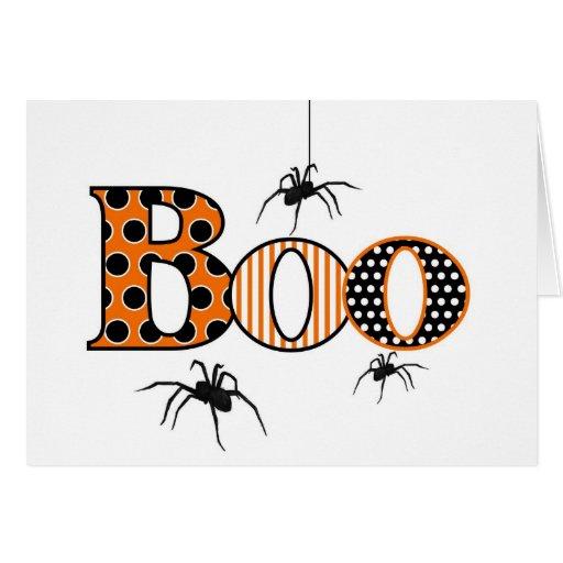 ABUCHEO con las arañas Halloween Tarjeta Pequeña