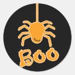 Abucheo de la araña de Halloween Etiquetas Redondas