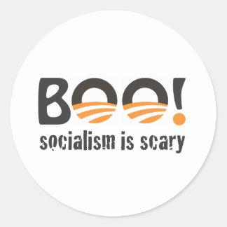 ¡Abucheo de Obama! el socialismo es asustadizo Pegatina Redonda