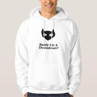 Abucheo del gato listo para un Throwdown Suéter Con Capucha