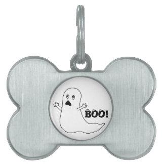 ¡Abucheo! Dibujo animado asustado lindo del fantas Placa Mascota