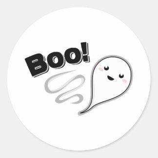 ¡Abucheo! Fantasma Pegatina Redonda