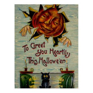 ¡Abucheo! Gato negro de la calabaza de la linterna Tarjetas Postales
