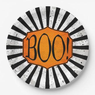 ¡ABUCHEO! Placas de papel rayadas de Halloween del Plato De Papel De 9 Pulgadas