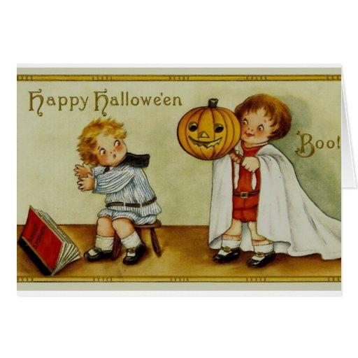 ¡Abucheo! Vintage de Halloween Tarjeta