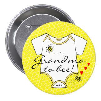 Abuela a la abeja pin redondo de 3 pulgadas