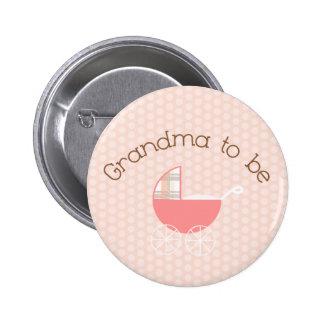 Abuela a ser botón rosado del cochecito de niño pin