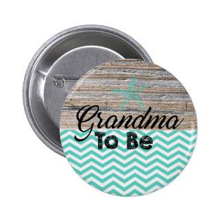 Abuela a ser playa náutica del botón de la fiesta pin redondo de 2 pulgadas