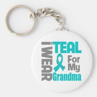 Abuela - ayuda del cáncer ovárico de la cinta del  llavero redondo tipo pin