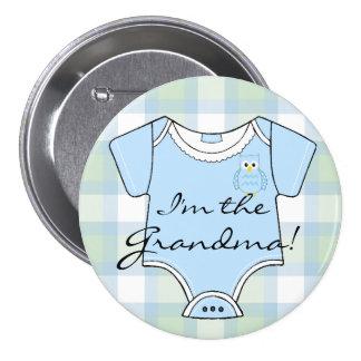 Abuela azul de la fiesta de bienvenida al bebé del pin redondo de 3 pulgadas