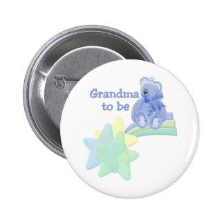 Abuela azul del oso a ser pin redondo 5 cm