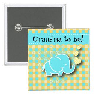 Abuela azul y amarilla del elefante el | del bebé pin cuadrado