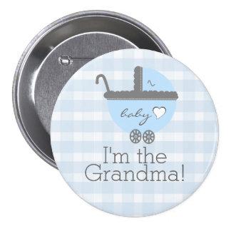Abuela azul y gris de la fiesta de bienvenida al pin redondo de 3 pulgadas