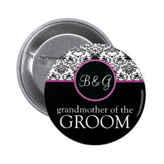 Abuela barroca de la elegancia del botón del novio pin redondo de 2 pulgadas