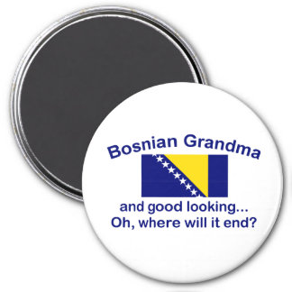 Abuela bosnio apuesta imán redondo 7 cm