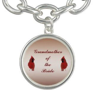 Abuela cardinal del boda de la novia pulseras con dijer