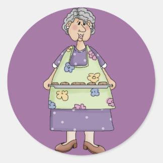 Abuela con diseño de las galletas pegatinas redondas