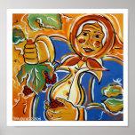 Abuela con las uvas posters