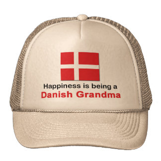 Abuela danesa feliz gorros bordados