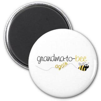 Abuela de la abeja a la camiseta otra vez imán redondo 5 cm