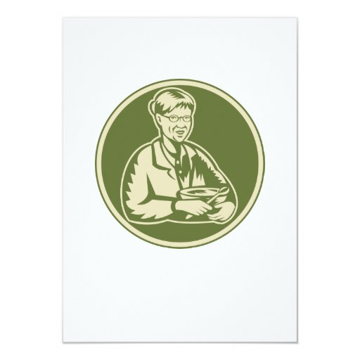 """Abuela de la abuelita que cocina el bol grande invitación 4.5"""" x 6.25"""""""