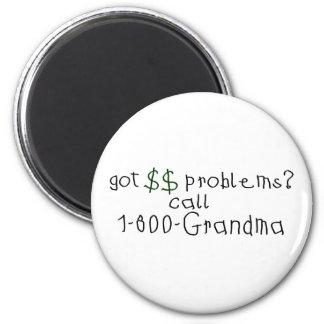 Abuela de la llamada de los problemas del dinero imán redondo 5 cm