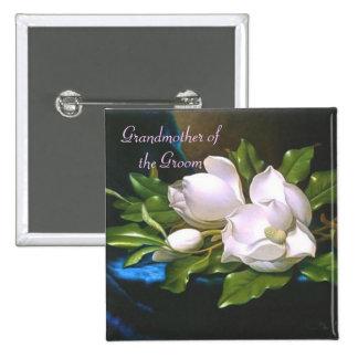 Abuela de la magnolia del vintage/botón del novio pin cuadrado