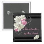 Abuela de la novia blanca, rosada y negra pins