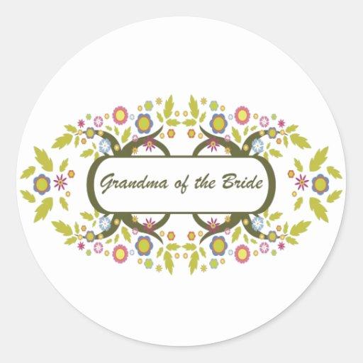 Abuela de la novia etiqueta redonda