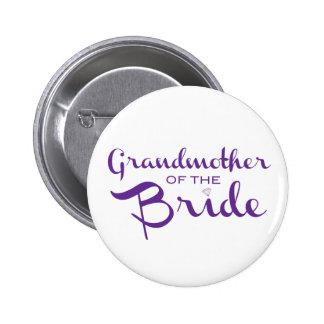 Abuela de la púrpura de la novia en blanco pin redondo de 2 pulgadas